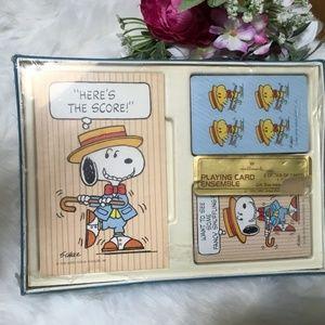 Vintage Hallmark Snoopy Bridge Set 2 Sets Of Cards